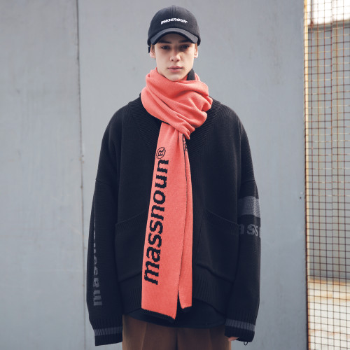 [MASSNOUN] SL LOGO DOUBLE SIDED WOOL MUFFLER MFEAM001-OR