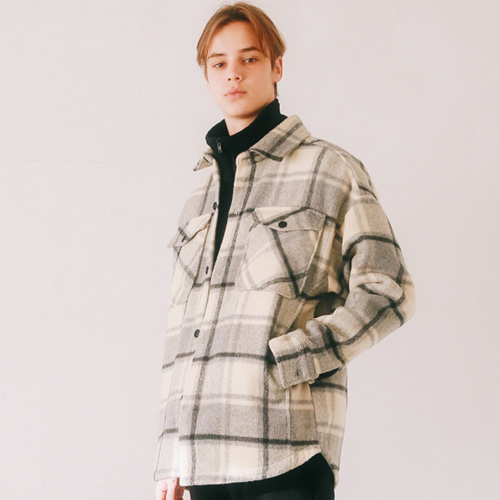 [언아웃핏]UNISEX WOOL CHECK SHIRTS JACKET BEIGE