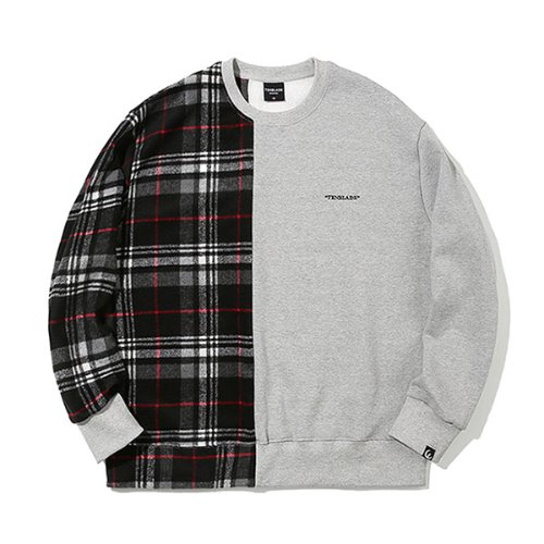 [TENBLADE] Over fit flannel check sweat shirt_gray