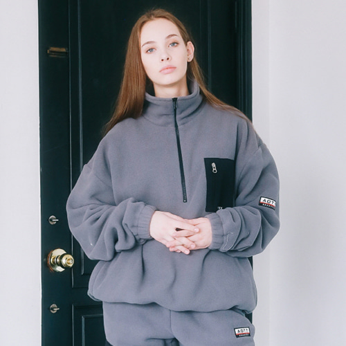 [언아웃핏]UNISEX FLEECE ZIPPER ANORAK CHARCOAL