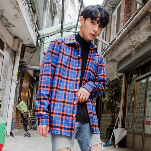 [OROR] BLUE CHECK OUTER SHIRTS R1-031