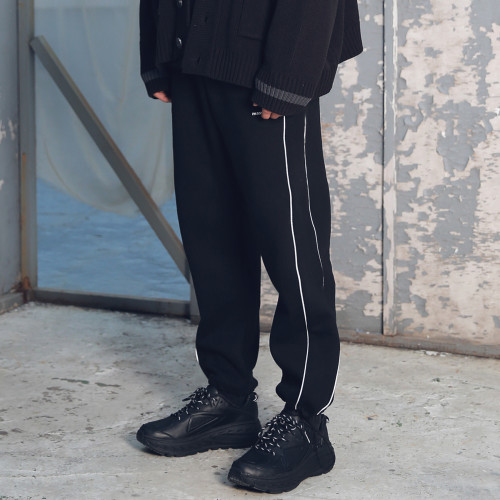 [MASSNOUN] SL LOGO SCOTCH LINE STRING TRACK PANTS MFETP002-BK