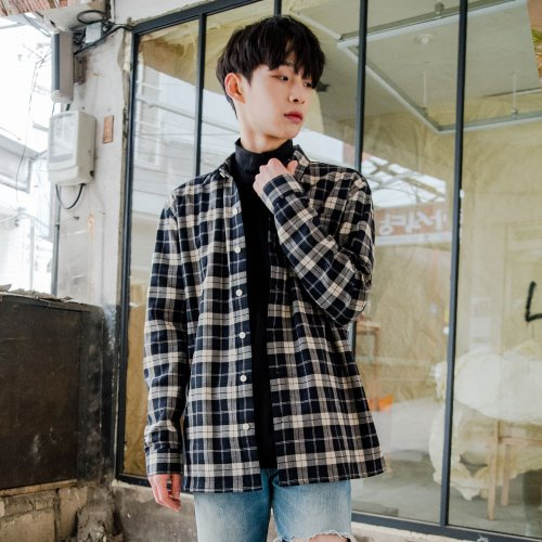 [OROR] NAVY CHECK OUTER SHIRTS R1-028