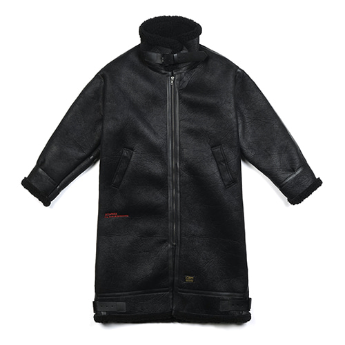 [STIGMA]STGM OVERSIZED MOUTON LONG JACKET - BLACK