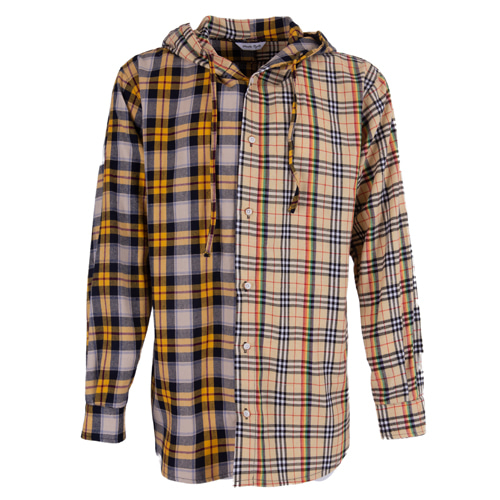 [마에다류토] Double Check mixed hood shirt - Beige