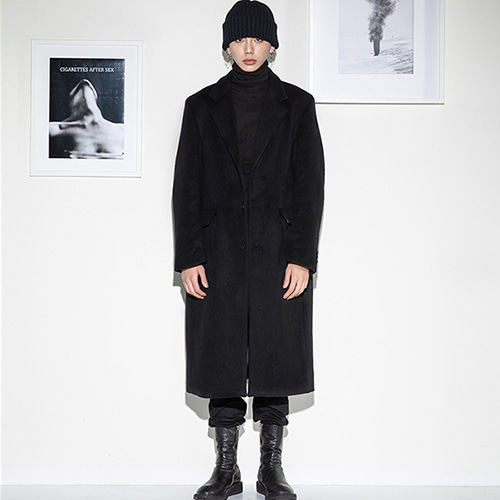 [FLAREUP] over single long coat (FL-011) - Black