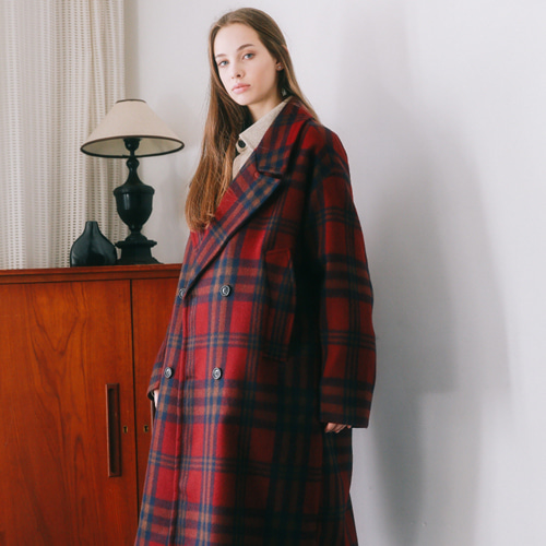 [언아웃핏]UNISEX WOOL CHECK DOUBLE COAT WINE