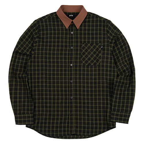 [ATO] CHECK BROWN SHIRT - green