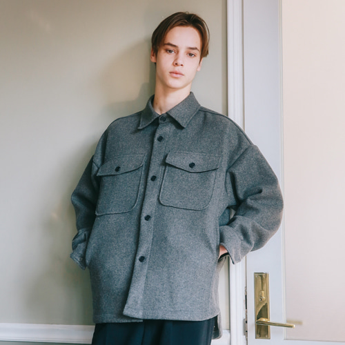 [언아웃핏]UNISEX MINIMAL SHIRTS JACKET GRAY