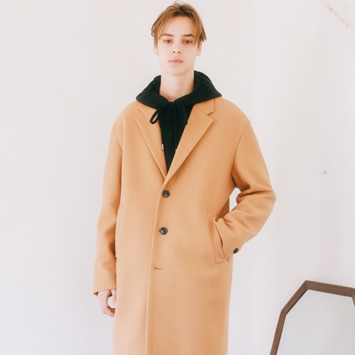 [언아웃핏]UNISEX MINIMAL WOOL SINGLE COAT BROWN