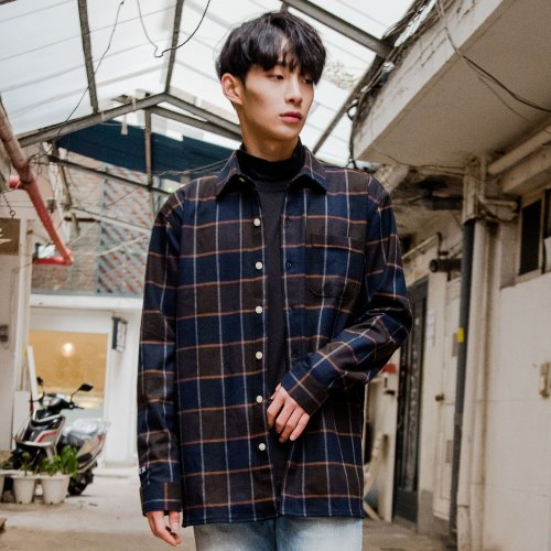[OROR] DARKBLUE CHECK OUTER SHIRTS R1-029