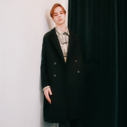 [언아웃핏]UNISEX MINIMAL WOOL DOUBLE COAT BLACK