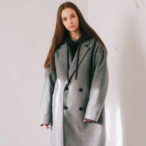 [언아웃핏]UNISEX MINIMAL WOOL DOUBLE COAT GRAY