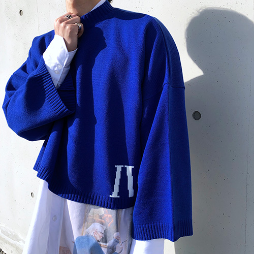 [4BLESS] Iv Over Crop Knit Blue