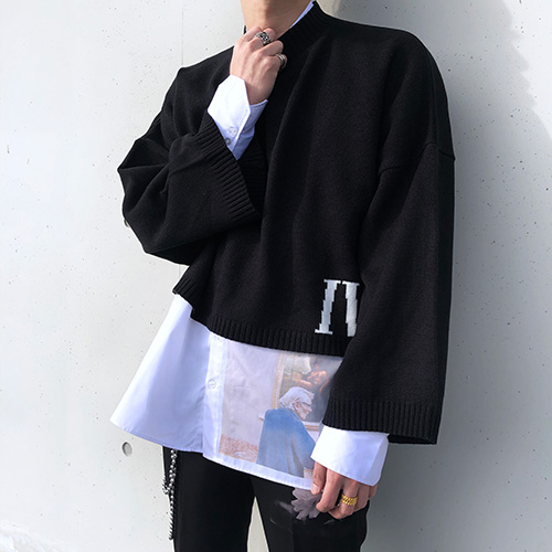 [4BLESS][2차 재입고] Iv Over Crop Knit Black
