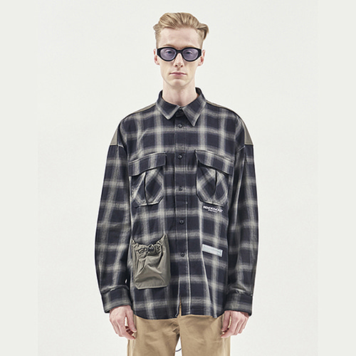 [RENDEZVOUZ] STRING POCKET CHECK SHIRTS GREY