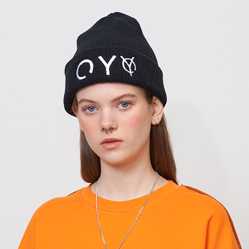 [OY] EMBROIDERY BEANIE - BK