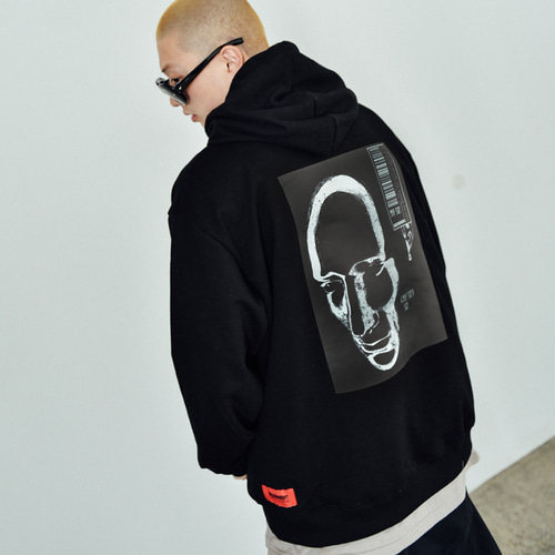 [BASEMOMENT] Face Print Heavy Hood Black