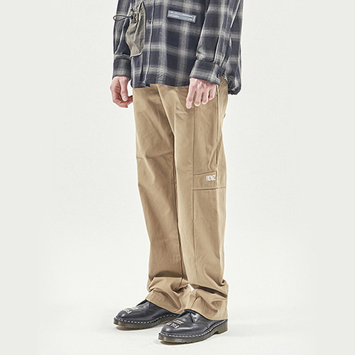 [RENDEZVOUZ] TAPE DECO WORK PANTS BEIGE