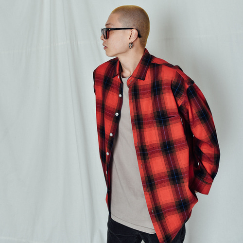 [BASEMOMENT] Shadow Check Over Shirt Red