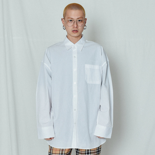 [BASEMOMENT] Solid Over Long Shirt White