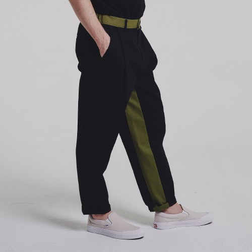 [STAGE NAME] Mixed tapered pants_BLACK
