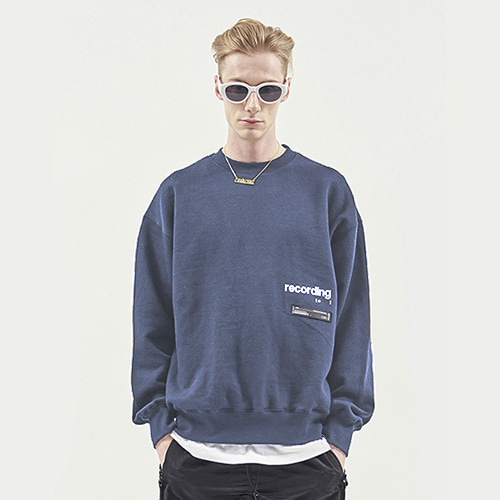 [RENDEZVOUZ] RECORDING SWEAT TOP BLUEGREY