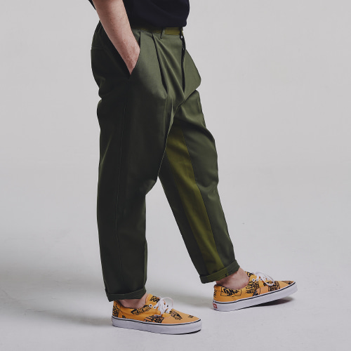 [STAGE NAME] Mixed tapered pants_KHAKI