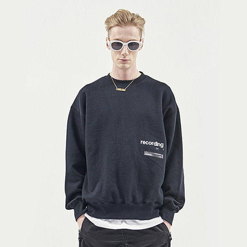 [RENDEZVOUZ] RECORDING SWEAT TOP BLACK
