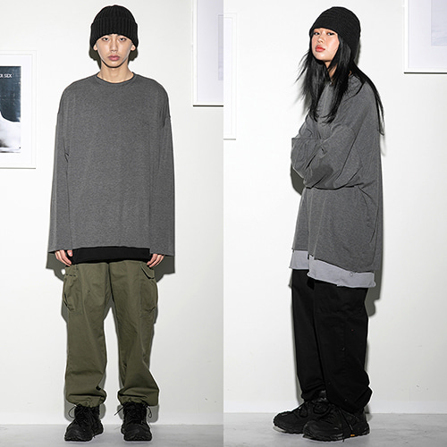 [FLARE UP] Over long sleeve CH (FU-111) - charcoal