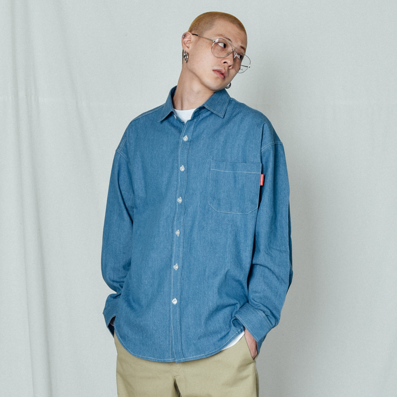 [BASEMOMENT] Chambray Over Shirt Blue