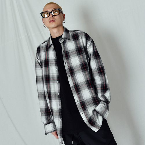 [BASEMOMENT] Shadow Check Over Shirt Black