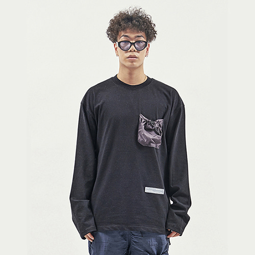 [RENDEZVOUZ] STRING POCKET LONG SLEEVE BLACK