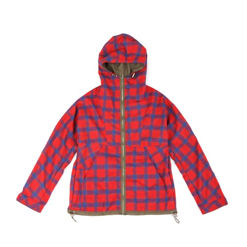 [yeseyesee] Check Mountain Parka Red