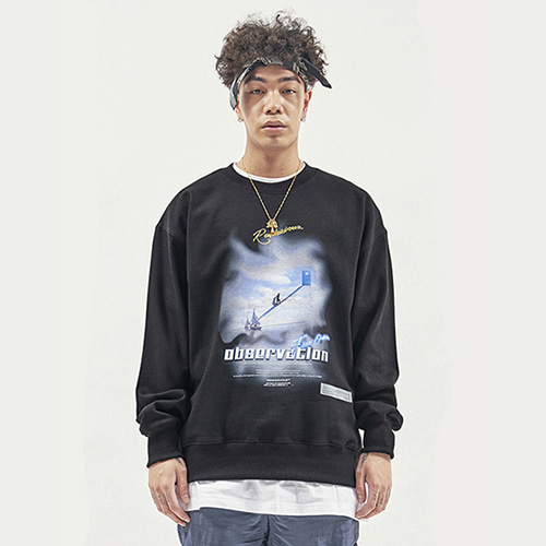 [RENDEZVOUZ] OBSERVATION SWEAT TOP BLACK