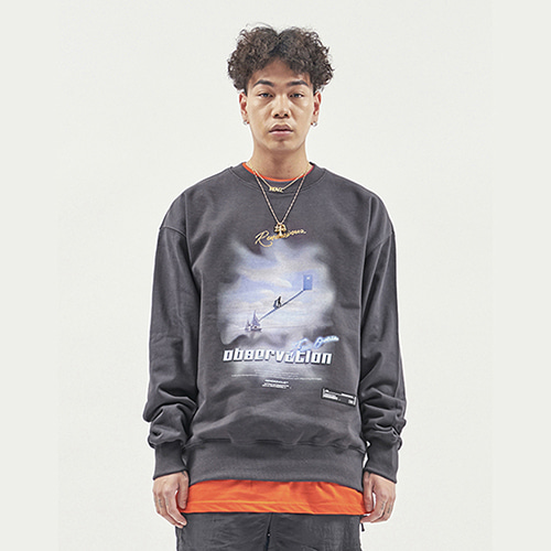 [RENDEZVOUZ] OBSERVATION SWEAT TOP CHARCOAL