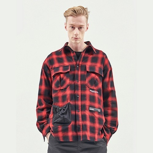 [RENDEZVOUZ] STRING POCKET CHECK SHIRTS RED