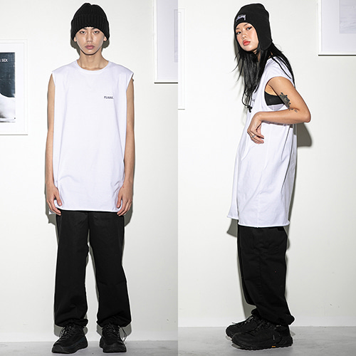 [FLARE UP] Over long sleeveless WH (FU-110) - white
