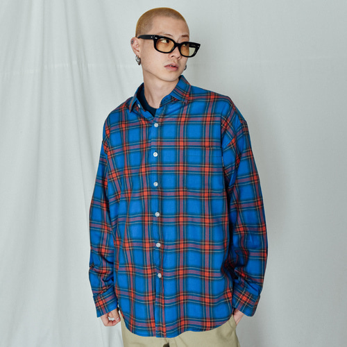 [BASEMOMENT] Collage Check Over Shirt Blue