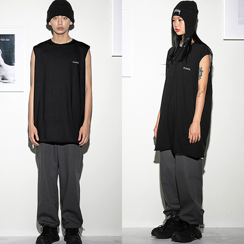 [FLARE UP] Over long sleeveless BK (FU-110) - black