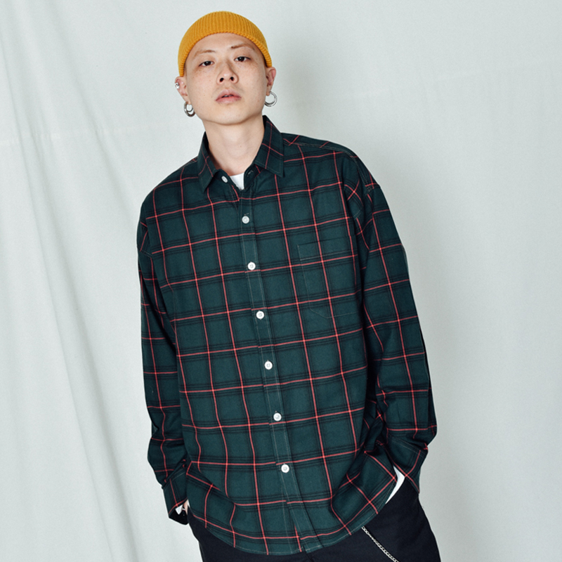 [BASEMOMENT] Garden Check Over Shirt Green