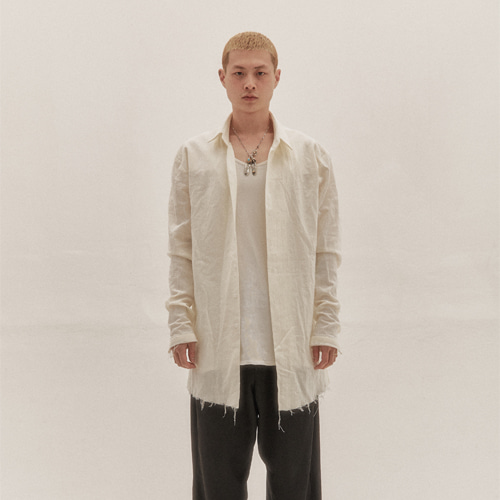[Innovant] pleated cutting shirt (ivory)