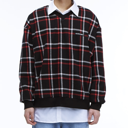 [NEVERCOMMON] check v neck knit
