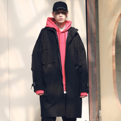 [MASSNOUN] SL LOGO M-51 FISHTAIL LONG COAT MSNCT002-BK