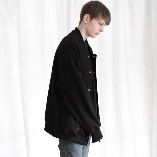 [ANOUTFIT] UNISEX OVERFIT SWEAT CARDIGAN BLACK
