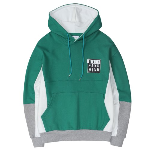 [ANOUTFIT] UNISEX HATE INCISION HOOD GREEN
