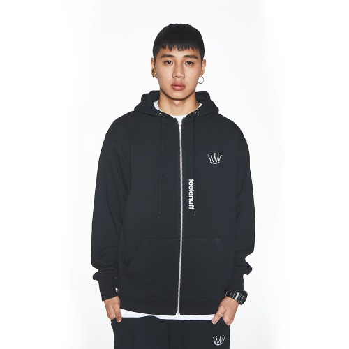 [Feel Enuff] CROWN FULL-ZIP HOODIE - BLACK