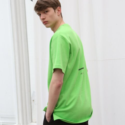 [ANOUTFIT] UNISEX EMOTICON T-SHIRTS YELLOWGREEN