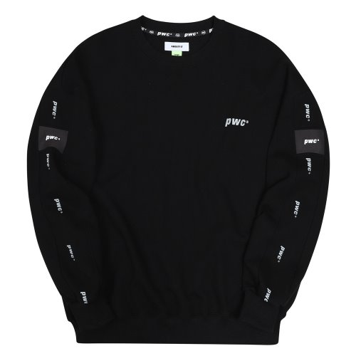 [ANOUTFIT] UNISEX PWC TAP SWEAT SHIRTS BLACK