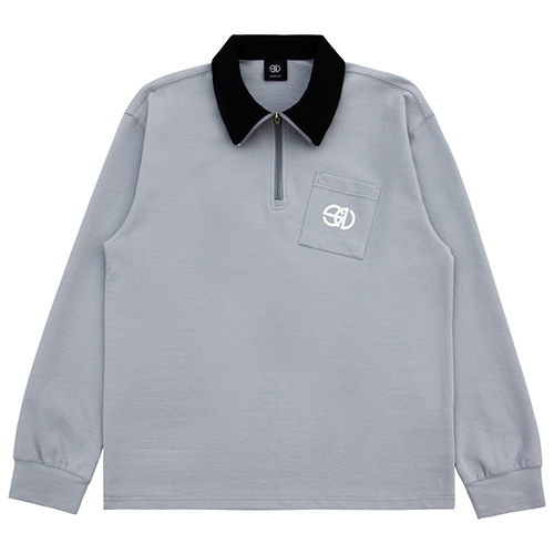 [NOWAVE] ZIPPER POLO SHIRT - Deep sky blue